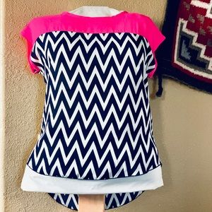 Hot Pink & Navy Blouse